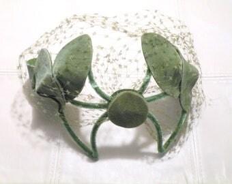 Vintage Hat Half Hat Vintage Bridal Headpiece Vintage Hat Vintage Headband GREEN VELVET Vintage Womens Hat