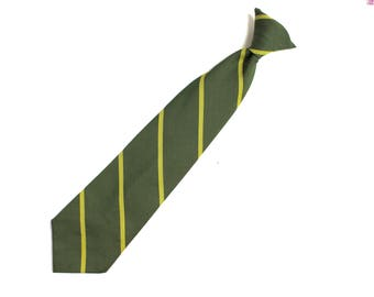 Mens Vintage Clip On Neck Tie / Repp Tie Diagonal Stripes Green Gold Snapper Accessories Necktie Gift For Him Fathers Day Coach Game Day