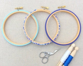 Modern Embroidery Hoop Set. Frames available in five sizes. Liberty of London, Blue 'D'ajio D', Tana Lawn cotton.