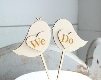 We Do Lovebirds Cake Topper Wood Cake Topper Rustic Wedding