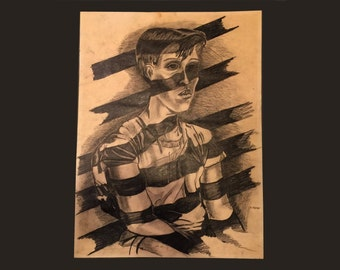 The Imprisonment of the Flag Original Charcoal Drawing 1970s 70s S. Ferrer Political Statement Art