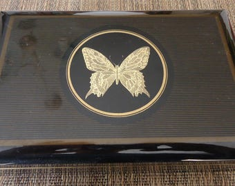 """Vintage Laquerware Musical Jewelry Storage Box w/ Etched Gold Tone Butterfly by OTAGIRI Japan, Plays """"One Fine Day, We'll Notice"""", Papillon"""