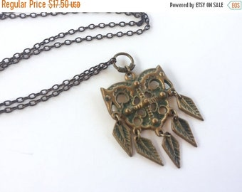 MOVING SALE Half Off Awesome Vintage Brass Metal with Green Dangle Tribal Pendant Necklace