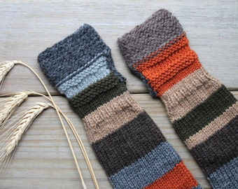 Harvest color hand knit arm warmers / urban rustic long fingerless mitts / earthy brown / pumpkin orange / pine forest green / her mix match