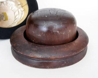 Vintage Wood Hat Block and Brim, Millinery Hat Block and Brim, Haberdashery, Primitive Hat Block and Brim,  Hatter's Block and Brim