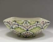 Small Wheel Thrown Handmade Ceramic Bowl with Navy, Kiwi and Purple Pattern
