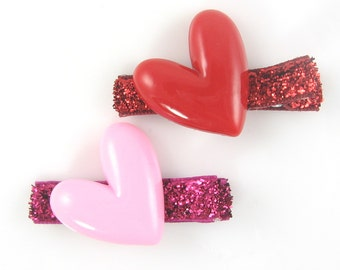 Heart Hair Clips, red and pink barrettes, glitter hair clips, Valentines hair clips, toddler baby hair clips, girls hair clips ae-vday-1