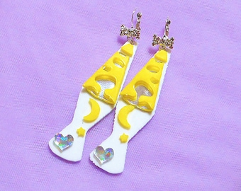 Neon Psychedelic LAVA LAMP Acrylic Earrings -- White Yellow & Silver Details -- White Wrap Around Rhinestone Earring Hooks