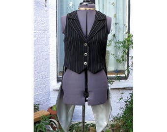 goth tail waistcoat tailcoat in black and white pinstripe mens or ladies vest made to order UK seller