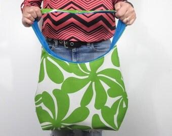 hobo bag in Pantone greenery flowers. design your own choose medium or large purse. shoulder or crossbody bag. interior solid color