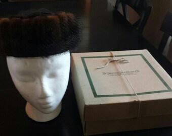 1950s Mink circle hat with netting original box