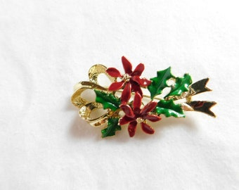 Vintage Poinsettia Christmas Brooch Signed by Gerrys