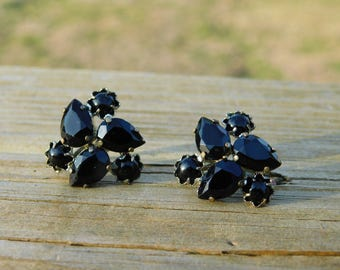 1950's Vintage Black Glass or Rhinestone Czechoslovakian Costume Jewelry Screw Back Earrings