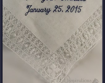 Personalized Wedding Handkerchief Mother of the Bride Gift - Embroidered Hankerchief - Wedding Handkerchief H8152