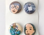 "Daria 1"" Pin Back Button Pack of 4"