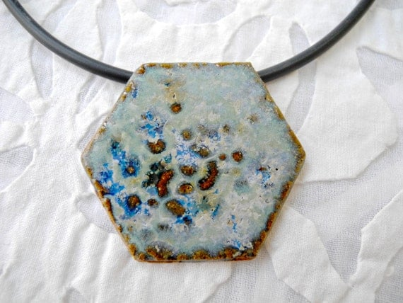 Hexagon Pendant, Mottled blue Ceramic Hexagon, stoneware Hexagon, necklace, Handmade pendant, boho necklace,  pottery pendant,