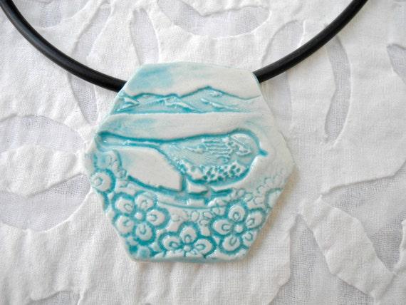 Bird pendant, Bird neckalce, Blue Bird, ceramic pendant, pottery pendant, nature pendant, Hexagon Pendant, bird jewelry,