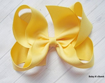 """Banana Yellow 5"""" Hairbow, 5"""" Solid Hairbow, M2M Matilda Jane Bow, Girls 5"""" Hairbow, 5"""" Yellow Hairbow, Big Girls Bow, 5"""" Solid Bow, Hairbow"""