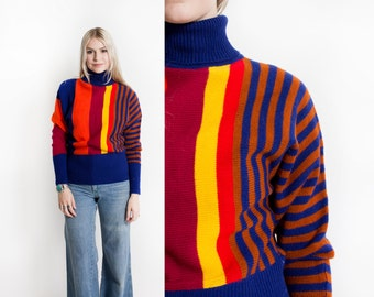 Vintage 60s Sweater - Hand Loomed Color Blocked Turtleneck 1970s - Small
