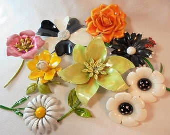 Vintage Enamel Flower Lot of 8 Brooch / Earrings Mod Flower Power Lucite Retro Mid Century Mod Valentine's Day Gift Art Deco