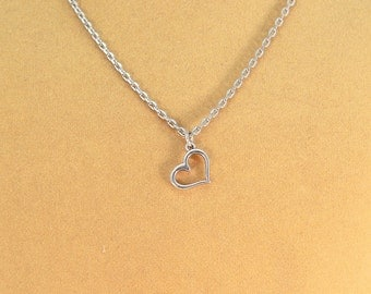 Heart charm necklace, hypoallergenic heart on a chain, hypoallergenic jewelry, heart jewelry
