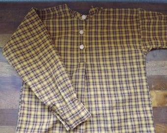 Boys Civil War Size 8 Brown Check Homespun  Cotton Shirt Reenactor Shirt
