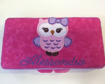 Personalized Baby Girl Owl Wipe Travel Case