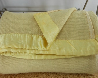 Antique 1800s Hand Loomed Blanket Woven 2 Panels Yellow Wool