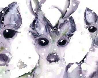 Large Fine Art Print of Three Deer in Snow, Wildlife Art Print, Winter Art
