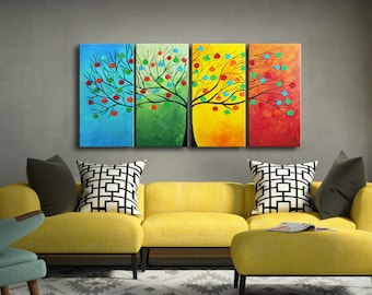 Large Abstract Tree, seasons painting, globes in tree, Modern Large 4 Panels Painting, Textured Impasto painting, large painting, wall art