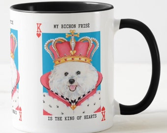 Bichon Frise Mug King of Hearts and matching card