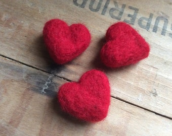 Needle Felted Heart Rocks Red Wool