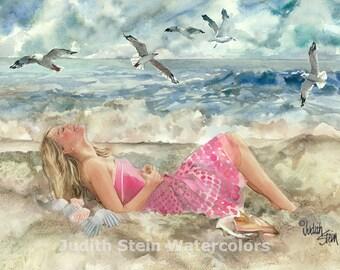"Blond Girl Teen in Pink Sun Dress, Beach, Seashore, Watercolor Painting Print, Wall Art, Home Decor, ""Beach Retreat"""