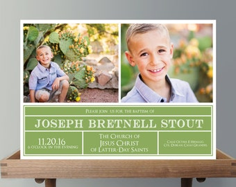 LDS Baptism Invitation Boy Invite - Printable Baptism Announcement - Photo Announcement - Digital File