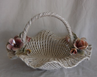 Antique Vintage Capodimonte Italian Ceramic Basket Centerpiece
