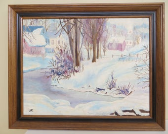 "Vintage Original Painting SIGNED landscape Folk Art  / framed oil / 17 x 21 "" / Americana"