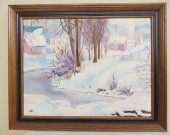 """Vintage Original Painting SIGNED landscape Folk Art  / framed oil / 17 x 21 """" / Americana"""