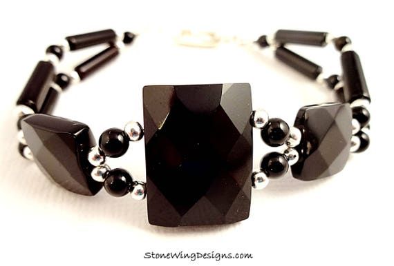 Two Strand Black Onyx Gemstone Bracelet For Her