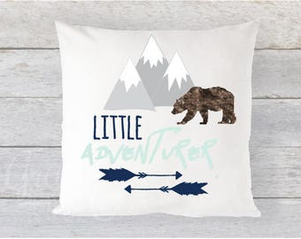 "Pillow Cover 16"" x 16"" - Little Adventurer // Mountains + Arrows + Bear  // Navy, Grey, Brown, Mint - Also available in Blush!"