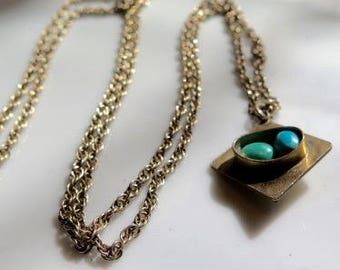 Turquoise Gold Fill Necklace Victorian Chain Natural Turquoise Stones 1910s Hallmark