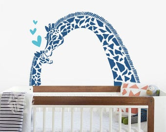 Giraffe Mom and Baby - Nursery Tree Wall Decal Sticker