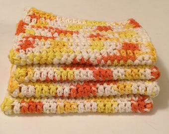 4 Large dish cloths/ dish rags/ wash cloths made with 100% cotton yarn | Cremesicle