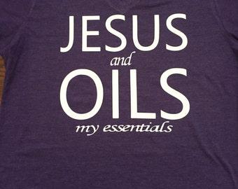Jesus and Oils V-neck Shirt