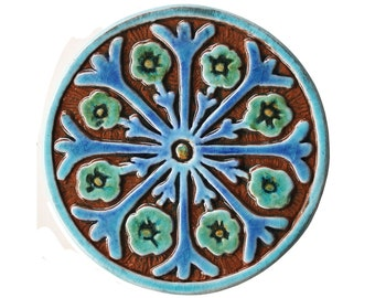 Ceramic tile wall decor with suzani design, Circle art, Wall hanging made from ceramic, 15cm circular, Suzani decor, Turquoise #2