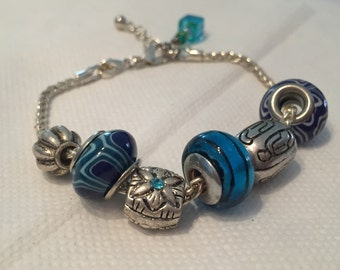 Blue European Bead Bracelet