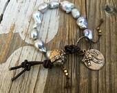 Boho Nucleated  Keishi Pearl Bracelet, Luminous Large Pearls, Bronze Cross Button, Relic Coin, Sundance Style Leather Bohemian Bracelet