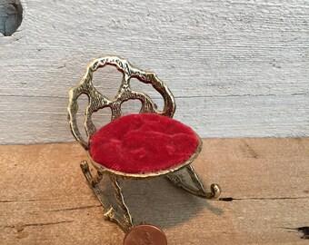 Rocking chair pincushion. Small metal chair pin cushion.