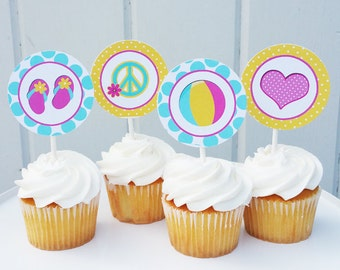 Personalized Peace Lov and Pool Cupcake Toppers Printable or Printed w FREE SHIPPING - Peace Love Pool Collection
