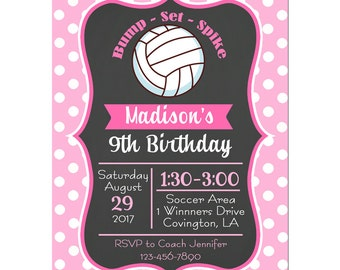 Girl's Volleyball Invitation Printable or Printed with FREE SHIPPING - Pink Dot Collection