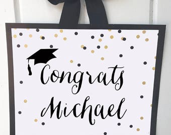 Graduation Sign Door Sign, Yard Sign,Chair Sign Printable or Printed ANY Wording - Black Stripe Gold Confetti Collection